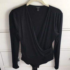 J crew wrap black bodysuit